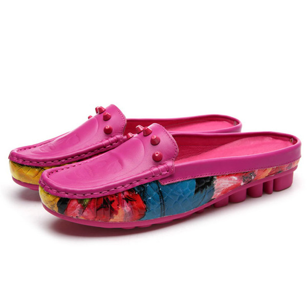 High Quality Hot Pink Leather Brand Name Slippers