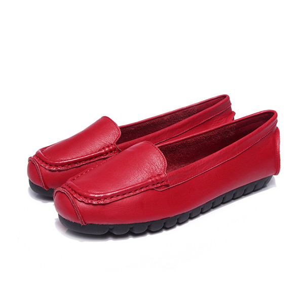OEM High Quality Red Cowhide Leather Slip-On Shoes With Black Outsole