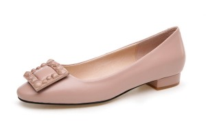 Women Nude Color Leather Low Heel Trendy Shoes