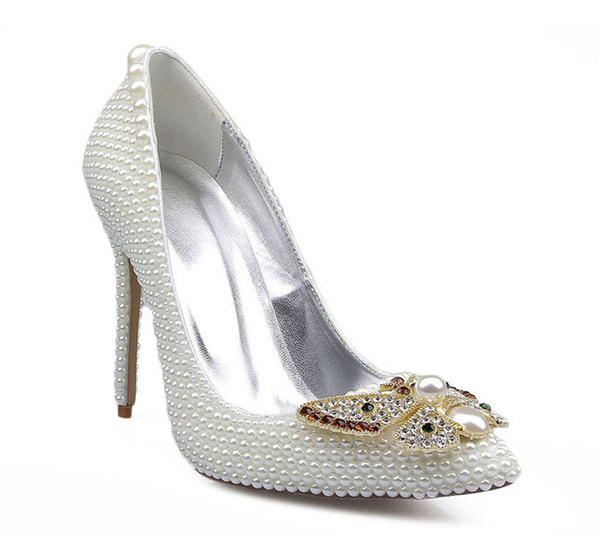 OEM Made Lady High Heel Dress Shoes With White Rhinestone Butterfly