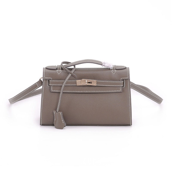 Good Quality Lady Handbags Grey Palm Print Leather Clutch Bags With Long Shoulder Strap
