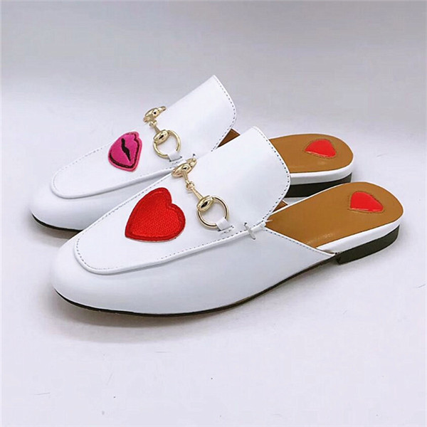 Famous Brand Shoes White Genuine Leather Loafers Women Half-Slippers