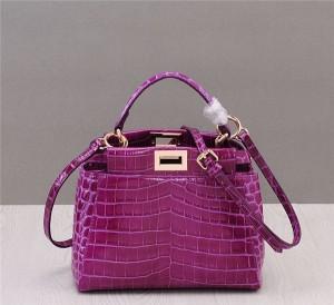 Newest Purple Crocodile Grain Leather Branded Designer Bags Ladies Shoulder Bag