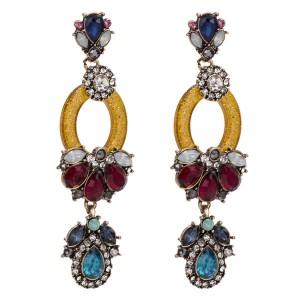 Europe And The United States Brand Acrylic Earrings Blue Glass Rhinestone Board Earring