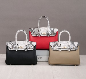 High Quality Snake Grain Cow Leather Tote Bags Handbags Designer Bags Supplier