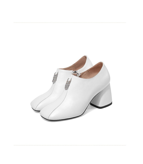 7cm Slip-On White Cowhide Thick Heel Famous Brand Shoes