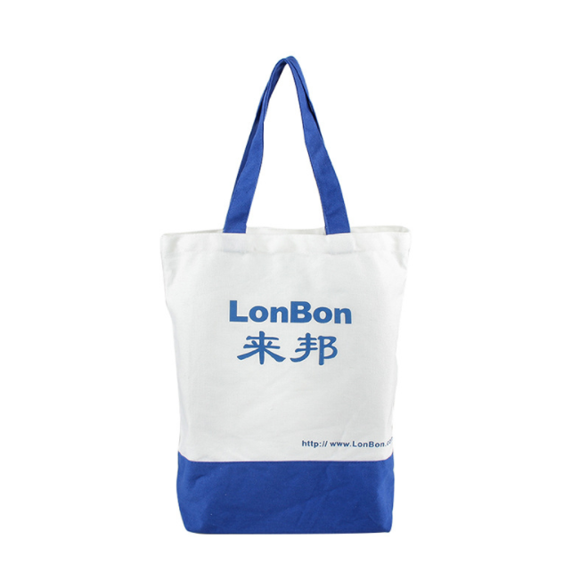 Grocery shopping eco-friendly 100% cotton canvas tote bag with gusset