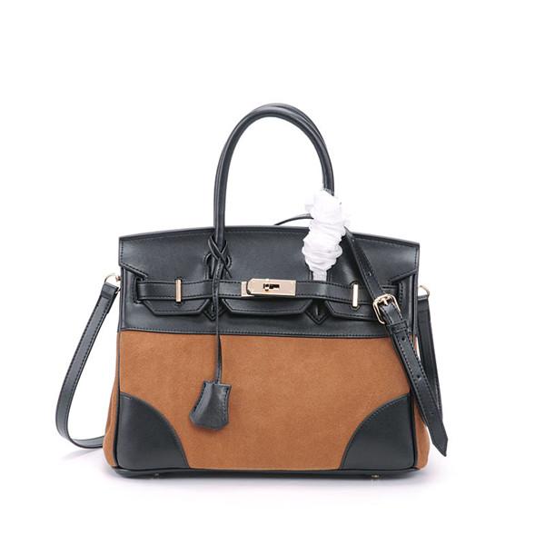 Custom Logo Leather Bag For Lady Brown Suede Bag With Long Shoulder Strap