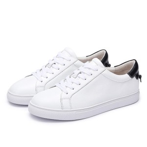 Hot Selling White Cowhide Lace Up Four-Season Sneakers