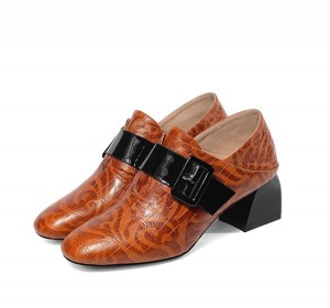 Women 5cm Heel Tan Leather Shoes Thick Sole