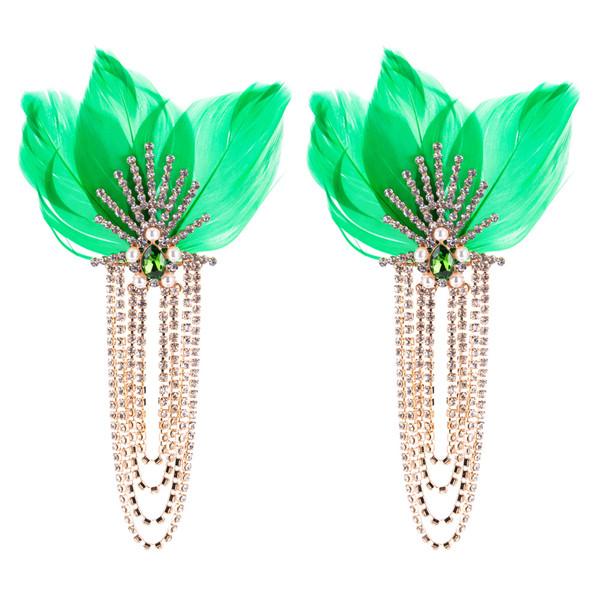 Multi-Layer Diamond Earring Green Feather Earring Female Long Earring Bohemian Earrings