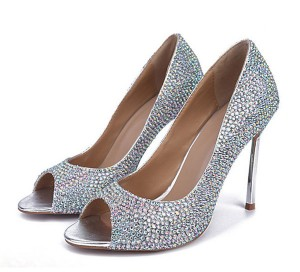 Custom Made Women Silver Sequined Sexy Pumps Shoes