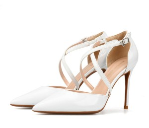 White Patent Leather Party Pumps Stiletto Sandals Women