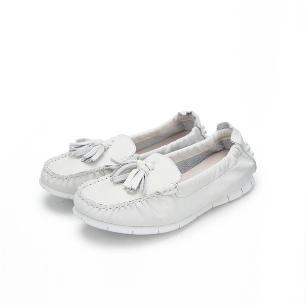 White Cowhide Folding Girl Student Flat Shoes With White Sole