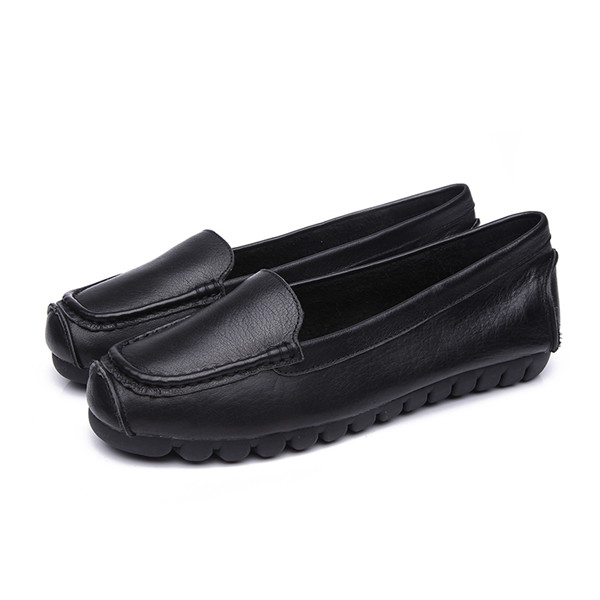 OEM Black Cowhide Slip-On Flat Loafers With Black Soft Sole