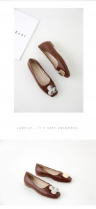 Nice Quality Brown Female Retro Square Toe Metal Buckle Shoes