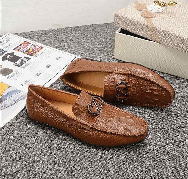 OEM Italian Tan Leather Designer Shoes Alligator Cowhide Slip-On Men Loafers With Buckle