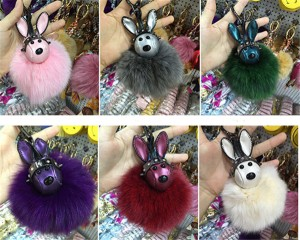 Bag Hanging Accessory Fashion Pink Rabbit Fur Accessory For Bags