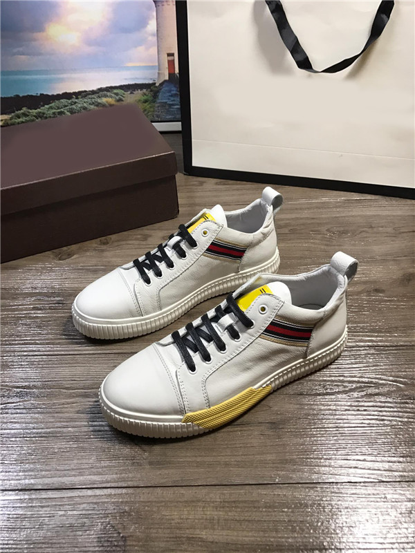 Newest Italian Sneakers White Cowhide Leather Sport Shoes With Black Shoes Lace
