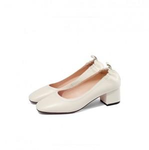 New Fashion 5cm Heel Creamy-White Lady Dress Shoes OEM