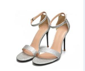 Silver Sequin High Heel Sandals Open Toe