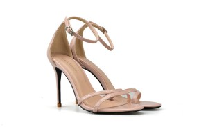 Nude Patent Leather Stiletto Open Toe Sandals With Ankle Strap