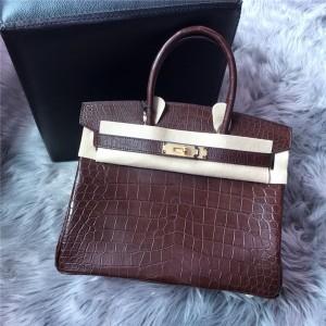High Quality Famous Brand Dark Brown Crocodile Grain Lady Handbags 30cm 35cm