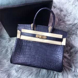 High Quality Famous Brand Crocodile Grain Bags Handbags Women 30cm 35cm