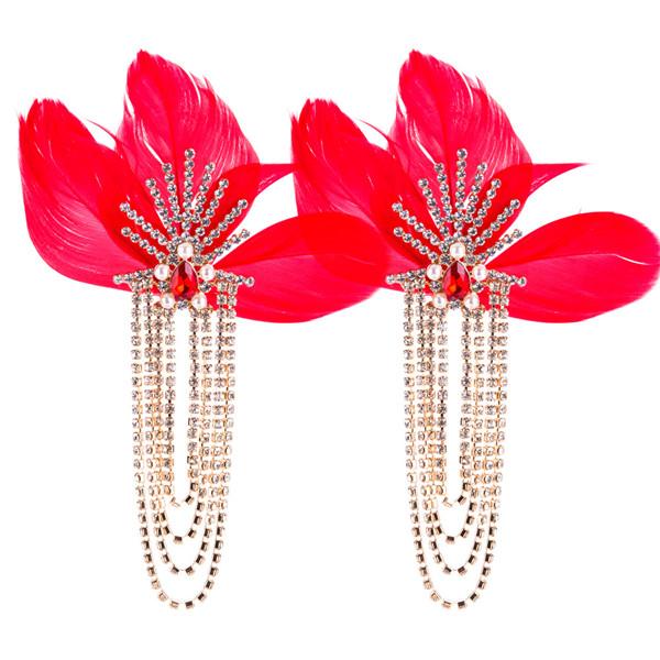 Women Fashion Earring Red Feather Earring Female Long Earring Bohemian Earrings