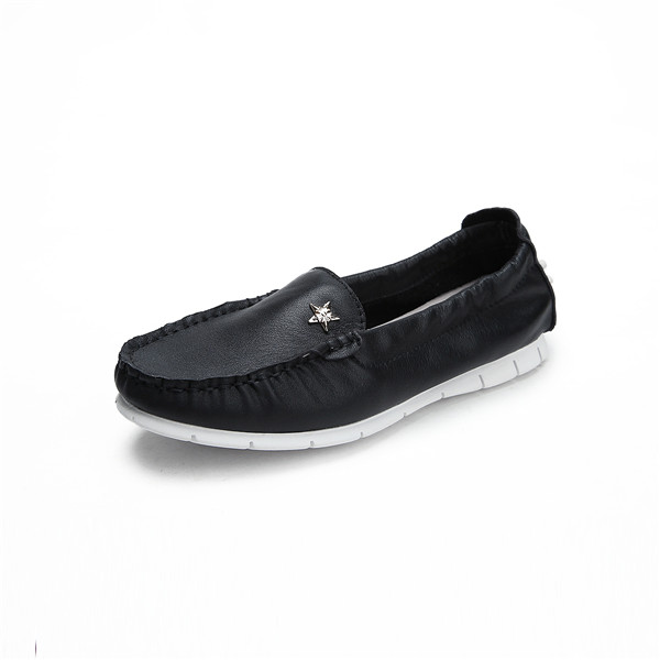 OEM Black Cow Skin Designer Flat Shoes High Quality Slip-On Loafers With White Outsole