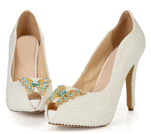 Custom Made Lady Stiletto Shoes With White Rhinestone Butterfly