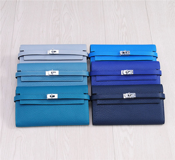 High Quality Lychee Leather Wallets Buckle Wallets Designer Kelly Wallets Clutch Wallets