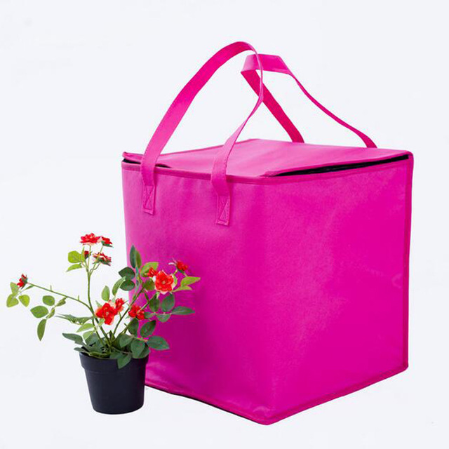 Zipper rose-red nonwoven heat preservation bag non woven Picnic lunch can cooler bag