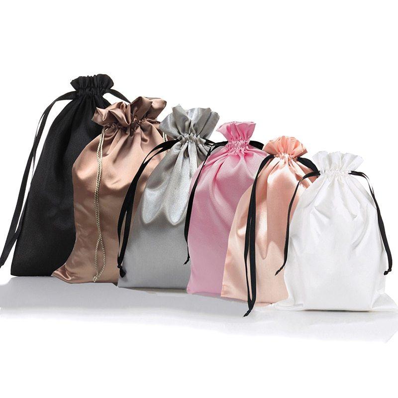 Promotional Black Virgin Hair Drawstring Silk Wig Packaging Bag Satin Bag Featured Image